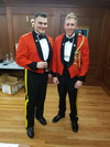 "(credit: OCdt Tom Clackson) – Capt Alex ""Moon Boot"" Neshcov and Lt Dan ""I Am Mr. Vice"" Dixon pose for their Mess Dinner's 'Before' photo."